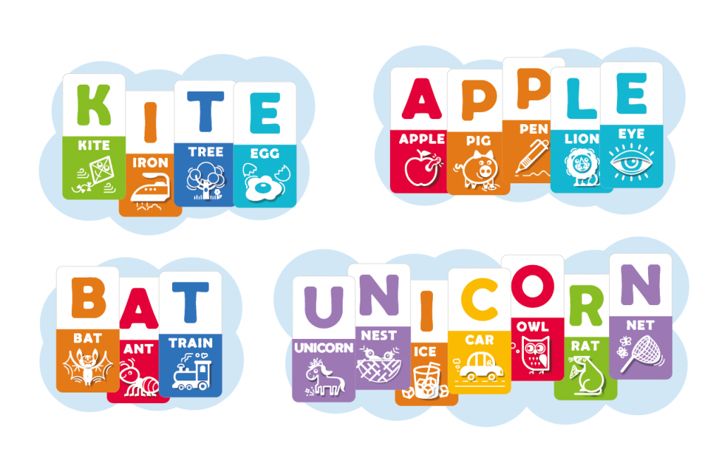Kite, Apple, Bat & Unicorn складені з карток до ABC rainbow